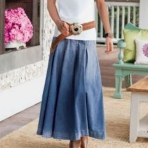 Soft Surroundings - Denim Pleated Maxi Skirt
